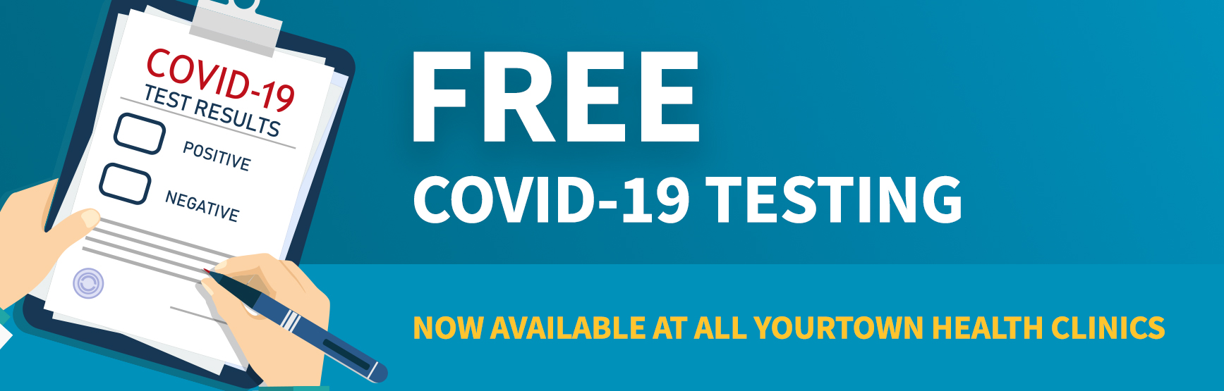 Free COVID-19 Testing: Now Available at All YourTown Health Clinics.